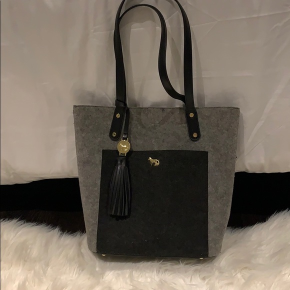 Gray felt purse